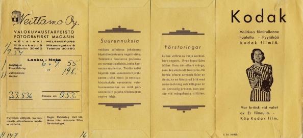 Neittamo Oy valokuvaustarpeisto Helsinki Kodak