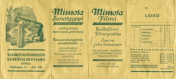 Valokuvaustarpeisto sähkövalokuvaamo Kotka Mimosa sunotyyppi filmi
